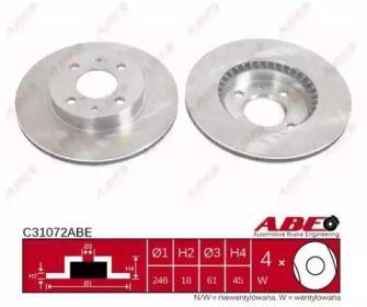 Вентилируемый тормозной диск на Ниссан Альмера 'ABE C31072ABE'.