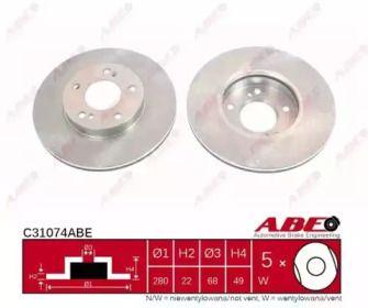 Вентилируемый тормозной диск на Ниссан Максима 'ABE C31074ABE'.