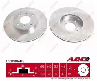 Вентилируемый тормозной диск на Ниссан 100Сх 'ABE C31080ABE'.