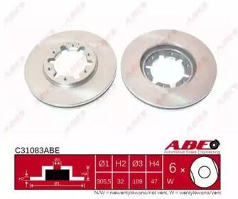 Вентилируемый тормозной диск на Ниссан Патрол 'ABE C31083ABE'.