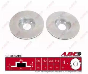 Вентилируемый тормозной диск на Ниссан Ноут 'ABE C31089ABE'.