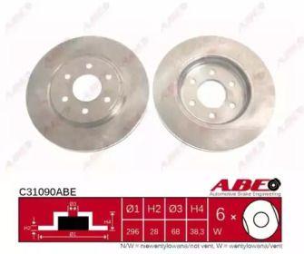 Вентилируемый передний тормозной диск на Ниссан Навара 'ABE C31090ABE'.