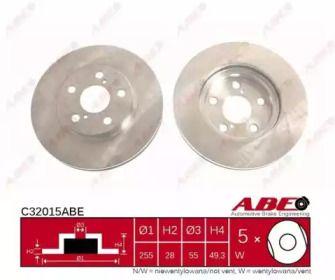 Вентилируемый тормозной диск на Тайота Карина 'ABE C32015ABE'.