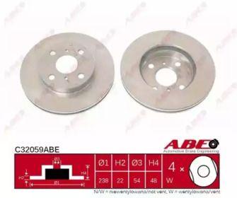 Вентилируемый тормозной диск на TOYOTA CARINA 'ABE C32059ABE'.