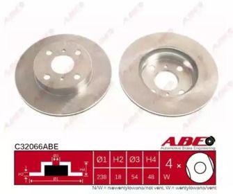 Вентилируемый тормозной диск на Тайота Королла 'ABE C32066ABE'.