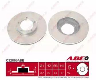 Вентилируемый тормозной диск на Тайота Хайэйс 'ABE C32069ABE'.