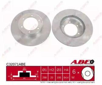 Вентилируемый тормозной диск на TOYOTA 4 RUNNER 'ABE C32071ABE'.