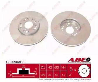Вентилируемый тормозной диск на Лексус СЦ 'ABE C32090ABE'.