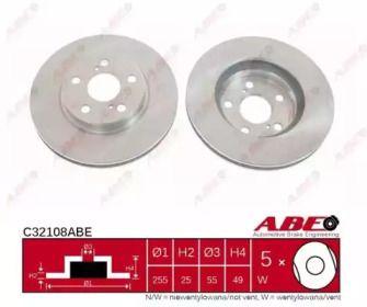 Вентилируемый тормозной диск на TOYOTA CELICA 'ABE C32108ABE'.