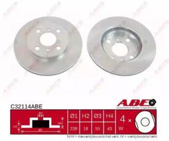 Вентилируемый тормозной диск на Тайота Старлет 'ABE C32114ABE'.