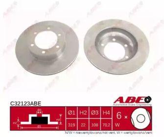Вентилируемый тормозной диск на TOYOTA 4 RUNNER 'ABE C32123ABE'.