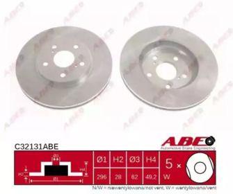 Вентилируемый передний тормозной диск на TOYOTA AVALON 'ABE C32131ABE'.