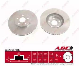 Вентилируемый передний тормозной диск на Тайота Селика 'ABE C32166ABE'.
