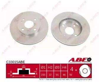 Вентилируемый тормозной диск на MAZDA 323 'ABE C33015ABE'.