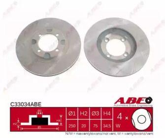 Вентилируемый тормозной диск на Мазда 626 'ABE C33034ABE'.
