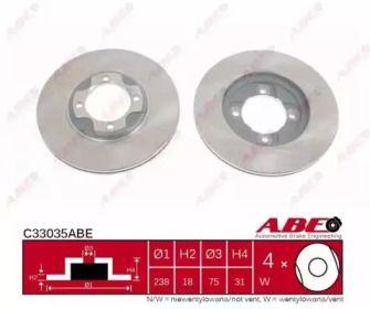 Вентилируемый тормозной диск на Мазда 323 'ABE C33035ABE'.