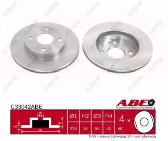 Вентилируемый тормозной диск на Мазда 323 'ABE C33042ABE'.