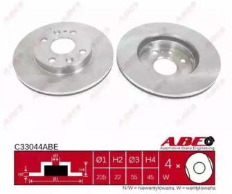 Вентилируемый тормозной диск на Мазда 323 'ABE C33044ABE'.