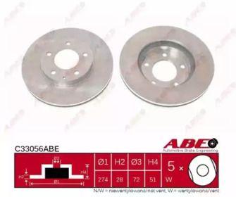 Вентильований гальмівний диск на Мазда Кседос 9 'ABE C33056ABE'.
