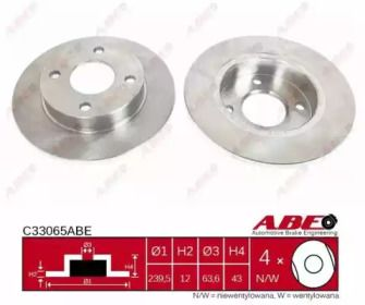Тормозной диск на Форд Ка 'ABE C33065ABE'.