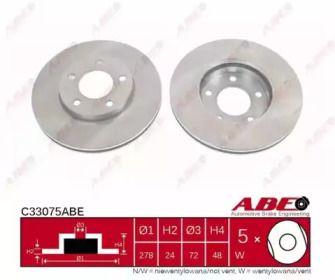 Передний тормозной диск на Мазда Трибьют 'ABE C33075ABE'.