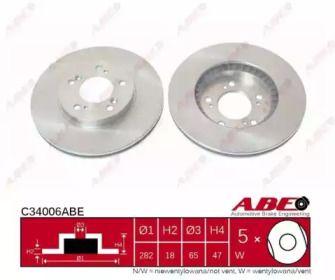 Вентилируемый тормозной диск на HONDA LEGEND 'ABE C34006ABE'.