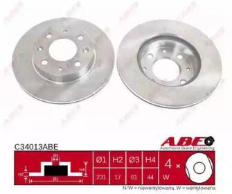 Вентилируемый тормозной диск на HONDA CRX 'ABE C34013ABE'.