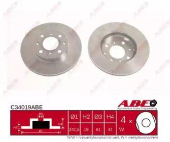 Вентилируемый тормозной диск на ACURA INTEGRA 'ABE C34019ABE'.
