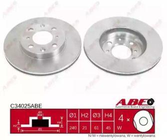 Вентилируемый тормозной диск на HONDA CIVIC 'ABE C34025ABE'.