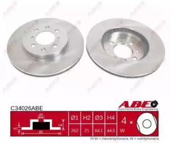 Вентилируемый тормозной диск на ROVER COUPE 'ABE C34026ABE'.
