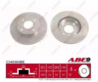 Вентилируемый тормозной диск 'ABE C34030ABE'.