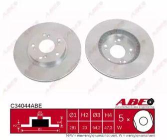 Вентилируемый тормозной диск на Хонда ФРВ 'ABE C34044ABE'.