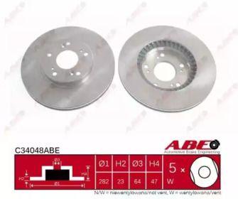 Вентилируемый тормозной диск на Хонда ФРВ 'ABE C34048ABE'.