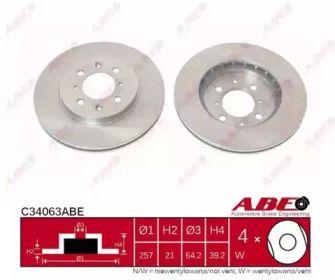 Вентилируемый тормозной диск на Хонда Джаз 'ABE C34063ABE'.