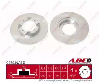 Тормозной диск на Митсубиси Лансер 'ABE C35010ABE'.