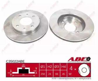 Вентилируемый тормозной диск на Митсубиси Спейс Стар 'ABE C35022ABE'.