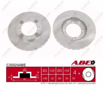 Вентилируемый тормозной диск на Митсубиси Лансер 'ABE C35024ABE'.