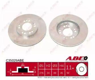 Вентилируемый тормозной диск на MITSUBISHI 3000GT 'ABE C35029ABE'.