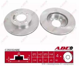 Вентилируемый тормозной диск на Митсубиси Каризма 'ABE C35032ABE'.