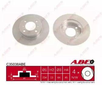 Тормозной диск на MITSUBISHI LANCER 'ABE C35038ABE'.
