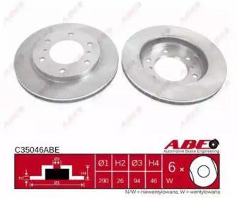 Тормозной диск на Митсубиси Паджеро 'ABE C35046ABE'.