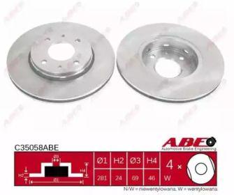 Вентилируемый передний тормозной диск на VOLVO V40 'ABE C35058ABE'.