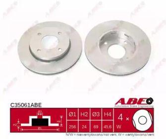 Вентилируемый тормозной диск на SMART FORFOUR 'ABE C35061ABE'.