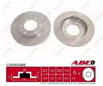 Вентилируемый передний тормозной диск на Митсубиси Л200 'ABE C35065ABE'.