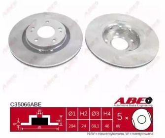 Вентилируемый тормозной диск на MITSUBISHI OUTLANDER 'ABE C35066ABE'.