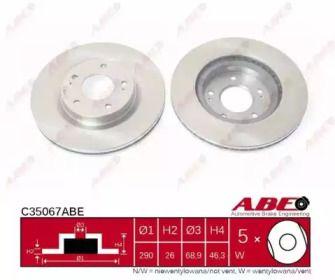 Вентилируемый тормозной диск на Митсубиси Грандис 'ABE C35067ABE'.