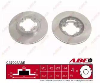 Вентилируемый тормозной диск на SUBARU LIBERO 'ABE C37002ABE'.