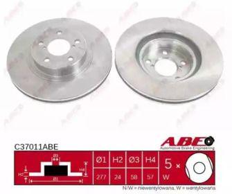 Вентилируемый тормозной диск на Субару Импреза 'ABE C37011ABE'.