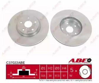 Вентилируемый передний тормозной диск на Субару Трибека 'ABE C37022ABE'.