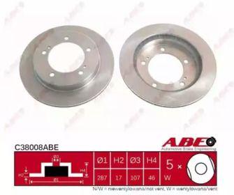 Вентилируемый тормозной диск на SUZUKI JIMNY 'ABE C38008ABE'.